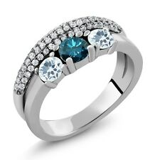 1.70 Ct Round Blue Diamond Sky Blue Aquamarine 925 Sterling Silver Ring