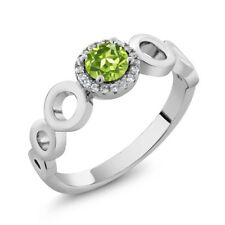 0.72 Ct Round Green Peridot 925 Sterling Silver Ring