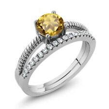 0.99 Ct Round Champagne Quartz 925 Sterling Silver Ring