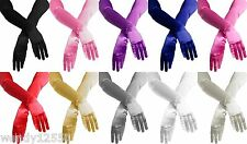 PAIR OF DELUXE SATIN GLOVES,FASHION,WEDDING,PROM,EVENING,COSTUME,THEATRE 39cm
