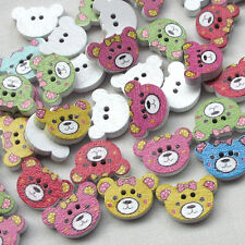 New 50/100pcs Wood Buttons Baby Bear Head Sewing Craft 2 Holes
