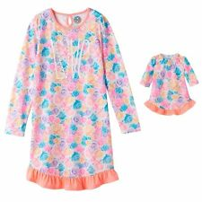 "NWT Girls Floral Nightgown & Matching 18"" Doll Gown Fits American Girl Dollie Me"