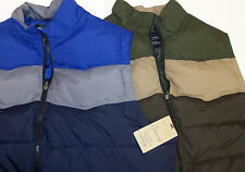 NWT Roundtree & Yorke Casuals Puffer Vest $95 Green Brown Blue Zippered Pockets