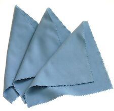 Horosafe Watch Polishing / Cleaning Cloth - Travel Size 8x8 - 3 Pack Light Blue