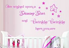 We Wished upon a Shining Star Twinkle Twinkle Nursery Quote Wall Sticker BABY