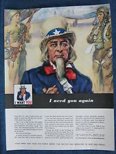 1948 UNCLE SAM Featured ~ Army & Air Force Recruiting Ad ~ Soldiers & Jet in BKG