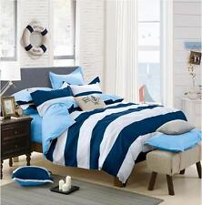 Single/Double/Queen/King Size Bed Quilt/Duvet Cover Set/All Sizes- Blue Stripe