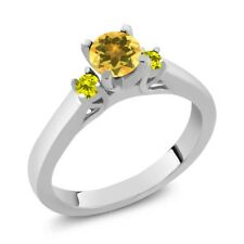 0.58 Ct Round Yellow Citrine Canary Diamond 925 Sterling Silver 3-Stone Ring