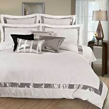 Queen / super King / king Silver Sequins Quilt Cover Set white doona cover set