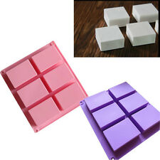 6 Tray Plain Basic Rectangle Soap Mold Silicone Mould for Homemade Craft Cavity