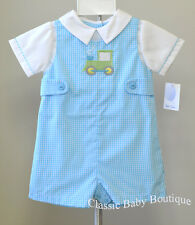 NWT Petit Ami Turquoise Green Tractor Jon Jon 3 6 9 months Baby Boys Romper