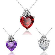 Women's Fashion Crystal Chain Rhinestone Gift Love Heart Love Pendant Necklace