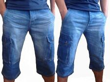 DENIM  SHORTS CARGO COMBAT JEANS CASUAL LONG SHORTS 3/4 DARK AND LIGHT