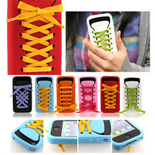 iPhone 4s 4 Shoe Lace Design Silicone Rubber Case Cover Skin