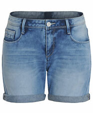 New Womens Faded 100% Cotton Mid Rise Denim Turn-up Shorts Sizes 8 10 12 14 16