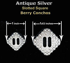 CONCHOS LOT OF 6 PCS WESTERN SQUARE BERRY ANTIQUE SILVER SLOTTED RODEO 2 SIZES