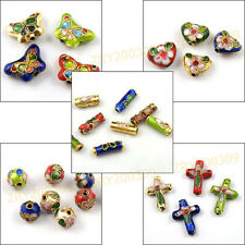 Butterfly,Heart,Cross,Round,Tube,Filigree Cloisonne Enamel Spacer Beads T1233
