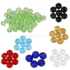 50 Crystal Faceted Gem Glass Rondelle Loose Beads Spacer Jewelry Making 4mm