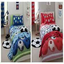 CATHERINE LANSFIELD FOOTBALL SINGLE & DOUBLE DUVET COVERS RED BLUE KIDS BEDDING