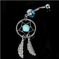 NEW Crystal Gem Dream Catcher Navel Dangle Belly Barbell Bar Ring Body Jewelry