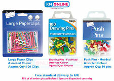 Paper Clips Jumbo Large Size Drawing Push Pins Quality Item Assorted Colour
