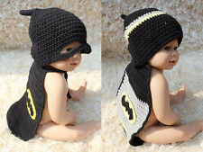 New Handmade Cotton Baby Crochet Knit Batman Hat Costume Newborn Photo Prop Gift