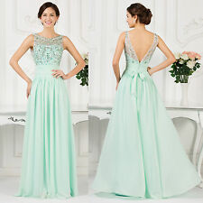 Beaded Long Maxi Evening Formal Party Ball Gown Prom Wedding Bridesmaid Dresses