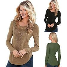 Womens Long Sleeve Tops Solid Blouse T-shirt Casual Crochet Basic Shirt G6G6