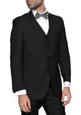 Mens Slim Fit Black Striped Three Piece Two Button Wool Blend Suit