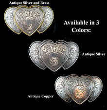 WESTERN TRIPLE HEART RODEO COWGIRL TROPHY BELT BUCKLE CHOOSE ONE FROM 3  COLORS