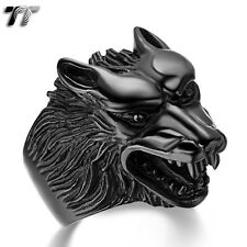 High Quality TTstyle 316L Black Stainless Steel Wolf Ring Size 7-15 (RZ04D) NEW