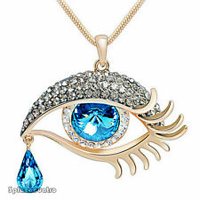 New Fashion Tear drop bead Eye shape pendant link necklace Faceted Crystal TRO