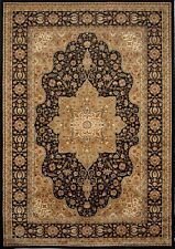 Beige Black Bordered Medallion Rugs Area Rug Traditional Persian Oriental Carpet