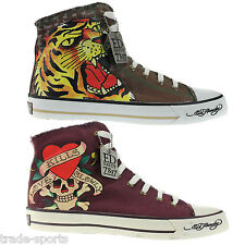 ED HARDY MENS WOMENS HI TOP TRAINERS SHOES UK SIZE 10 11 FASHION TREND