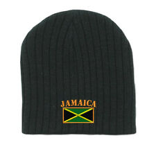 JAMAICA FLAG Embroidery Embroidered Beanie Skull Cap Hat