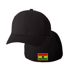 GHANA FLAG Embroidery Embroidered Black Cotton Flexfit Hat Cap