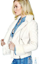 NWT GUESS Faux Shearling Bomber Fur Moto Jacket White M 6 7