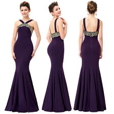 Sexy Purple Halter Mermaid Dresses Ball Gown Evening Prom Party Bridesmaid Dress