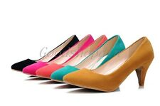 Fashion Comfort Womens Faux Suede Pointed Toe High Heels Pumps Work Shoes US10.5
