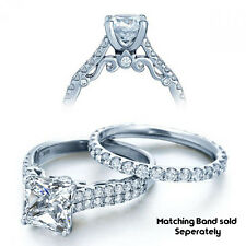 French Halo fancy DESIGNER DOUBLE ROW PAVE Princess cut DIAMOND ENGAGEMENT RING