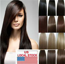"""18""""20''22'' 70g 100g Full Head Clip In Or WEFT Remy 100% Human Hair Extensions"""