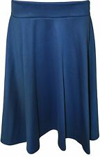 Womens Skater Stretch Waist Plain Flared Skirt  Ladies Plus Size 14-28