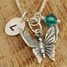 925 Sterling Silver Personalised Antiqued Butterfly Pendant Necklace w Gift Box