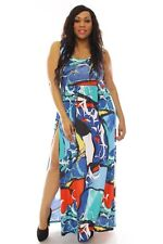 PLUS MULTI-COLOR SIDE SLIT BLUE TEAL WHITE BLACK RED MAXI DRESS NEW 1X 2X 3X