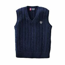 Chaps Boy's Navy Blue Sweater Vest Cable Knit Top NEW S M L XL $34