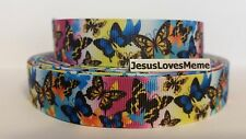 """Grosgrain Ribbon, Exotic Butterflies, Tiger Butterfly, Flying Insects, 7/8"""""""