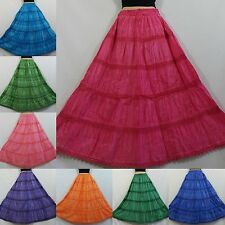 Cotton&Lace Embroidered  Stonewash Dye Gypsy Boho Festival tiered Skirt Plussize