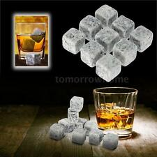 New 9pcs Whisky Ice Stones Drinks Cooler Cubes Whiskey Scotch Rocks Granite A3D4