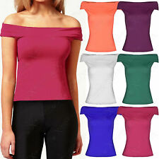 NEW WOMENS BARDOT TOP BODYCON STRETCH LADIES COLD OFF SHOULDER SLEEVELESS TOPS