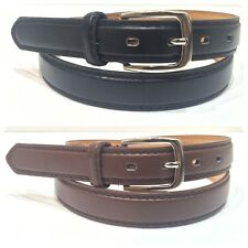 "MENS DRESS BELTS LEATHER 1"" INCH SILVER BUCKLE BLACK BROWN MEDIUM LARGE XL"